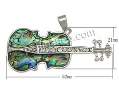 Natürliche Seeohr Muschel Anhänger, mit Messing, Gitarre, Platinfarbe platiniert, mit Strass, 52x21x3mm, Bohrung:ca. 4x6mm