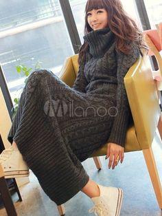 Dunkelgraues schickes Strickkleid aus Wollware - Milanoo.com