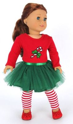 Candy Cane Tutu Dress & Striped Leggings doll clothes for the american girl doll American Girl Outfits, American Girl Doll Costumes, Ropa American Girl, My American Girl Doll, American Doll Clothes, Sewing Doll Clothes, Girl Doll Clothes, Doll Clothes Patterns, Girl Dolls