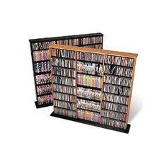 Prepac Oak Triple Width Wall Media (DVDCDGames) Storage Rack