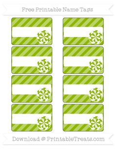 Free Apple Green Diagonal Striped  Cheer Pom Pom Name Tags