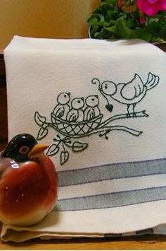 Freebie - Feathered Family Tea Towel  -lots of other free designs too!-