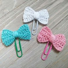 "These little crochet bow sets are handcrafted planner clips featuring the cutest little 3"" crocheted bow on their 2"" colored clip. The subtle colors of pinks, purple, and blues are perfect for Easter"