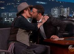 Jimmy Kimmel gets two kisses.... very jealous. .... interview 10/9/2015