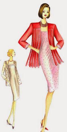 Fotoğraf Fashion Drawing Dresses, Fashion Drawings, Fashion Sketches, Marfy Patterns, Sewing Patterns, Italian Pattern, Power Dressing, African Fashion, Dress Skirt