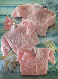 Baby Knitting Patterns Newborn Knit Baby Cardigan and Sweater with Hearts Vintage Knitting Pattern newborn to t… Baby Knitting Patterns, Baby Cardigan Knitting Pattern, Knitted Baby Cardigan, Knitting For Kids, Double Knitting, Baby Patterns, Cable Cardigan, Sweater Patterns, Double Crochet