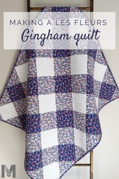 I love a simple yet gorgeous qulit. And this gingham Les Fleurs quilt is exactly that! See how I used high school algebra and a stack of Rifle Paper Co fabrics to make this beauty! Quilting Projects, Quilting Designs, Sewing Projects, Quilting Patterns, Cute Quilts, Easy Quilts, Owl Quilts, Rifle Paper, Sewing Patterns