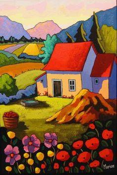 Fleurs et vallons - Louise Marion, artist Art And Illustration, Illustrations, Cottage Art, Arte Pop, Naive Art, Whimsical Art, Landscape Art, Art Lessons, Painting & Drawing