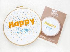 Embroidery Fabric Pattern, Pre Printed Fabric for Hand Embroidery, Happy Days Needlework Kit, DIY Needlecraft Kit, DIY Hoop Art Pattern.