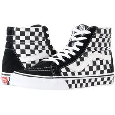 0d95e321ee44 Vans SK8-Hi Reissue ((Checkerboard) Black True White Check) Skate... ( 65)  ❤ liked on Polyvore featuring shoes