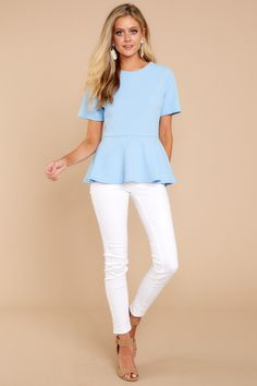 a3d3b819b6f Chic Peplum Top - Cute Light Blue Top - Top -  28.00 – Red Dress Boutique