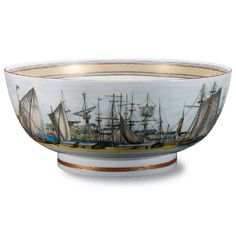 Boston Harbor Bowl, featuring the Boston Harbor around 1800, made exclusively for Shreve, Crump & Low by Mottahedeh.