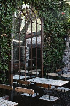 Patio Mirrors Outdoor Garden Inspiration About Best Ideas On Mirror Small Regard Outdoor Rooms, Outdoor Gardens, Outdoor Living, Outdoor Cafe, Courtyard Gardens, Outdoor Seating, Outdoor Ideas, Garden Mirrors, Mirrors In Gardens