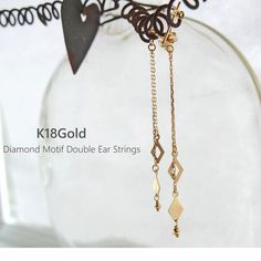 K18 yellow gold ear thread
