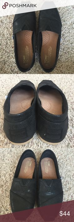 TOMS Great condition! Worn less than a handful of times (with socks). Beautiful metallic black. True to size. TOMS Shoes Flats & Loafers