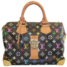 Pre-owned Louis Vuitton Murakami Speedy 30 Handbag Shoulder Bag ($1,595) ❤ liked on Polyvore featuring bags, handbags, shoulder bags, multicolor, black leather shoulder bag, black leather handbags, leather shoulder bag, louis vuitton handbags and louis vuitton