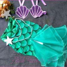 Mermaid Birthday Outfit, Princess Theme Birthday, Mermaid Birthday Cakes, Mermaid Dress For Kids, Baby Cosplay, Halloween Sewing, Disney Princess Dresses, Felt Crafts, Decoration