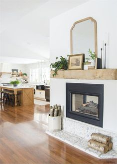 Farm House Living Room, Home, Barn Beams, Home Fireplace, Fireplace Mantle Decor, Fireplace Design, Farmhouse Mantel, Fireplace, Rustic House
