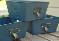 Dollar Store Bins can be completely transformed into stylish storage options using just a bit of paint.