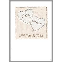 personalised '2 hearts' wedding card