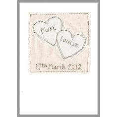 personalised '2 hearts' wedding card