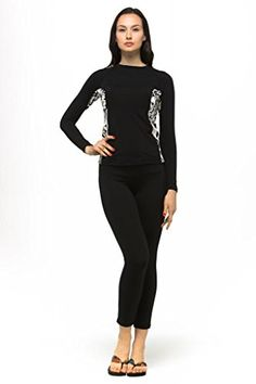 Private Island Hawaii UV Women Wetsuits Long Sleeve Rash Guard Top Black with Pucci XXX-Large - island hawaii coupon ideas Swimsuit Cover Ups, Swimsuit Tops, Women's One Piece Swimsuits, Women Swimsuits, Swim Shirts For Women, One Piece For Women, Swim Dress, Rash Guard, Black Tops