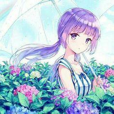 Cute girl.. purple hair..