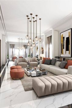 For more luxury modern living room interior design inspirations check our website Living Room Modern, Home Living Room, Interior Design Living Room, Small Living, Luxury Living Rooms, Contemporary Living Room Decor Ideas, Living Room Apartment, Living Room Colour Design, Living Room Styles