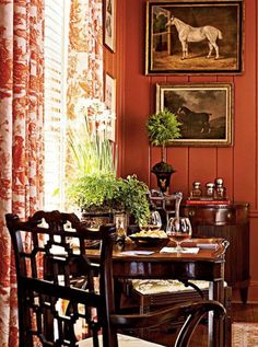 English country sitting area, persimmon paint, equestrian art, toile scenic draperies, chippendale chair.  custom draperies in this style, DesignNashville.com, shipping to you
