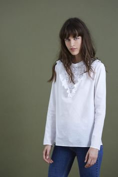 Blouse Blanche - women's fitted blouses, womens printed shirts and blouses, womens printed blouses *ad