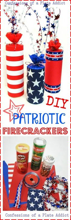 DIY Patriotic Firecracker Decor Read more at: Fourth Of July Decor, 4th Of July Decorations, 4th Of July Party, July 4th, Patriotic Crafts, Patriotic Party, July Crafts, Summer Crafts, Patriotic Wreath