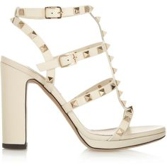Valentino Rockstud leather sandals ($657) ❤ liked on Polyvore featuring shoes, sandals, heels, sapatos, valentino, high heels, white, white leather sandals, white sandals and embellished sandals