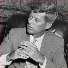 US president John F. Kennedy (JFK): folded hands photo