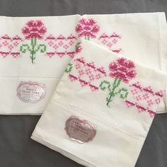 VTG Hand Embroidered Pillowcase Set On White Cotton Pink Red Flowers Shabby #Handmade #Cottage