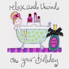 Hand Finished Relax and Unwind Birthday Card - Karenza Paperie