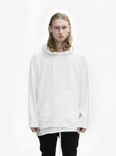 c2c71fb9d129 Double Layer Reversed French Terry Hoodie in Off-White