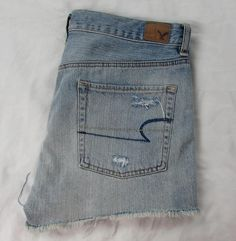 American Eagle Jeans Shorts  Button Fly Distressed Destroyed 100% Cotton sz 6 #AmericanEagleOutfitters #MiniShortShorts