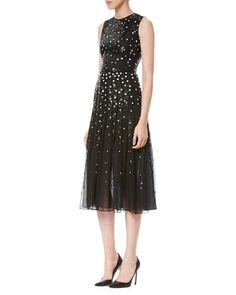Carolina Herrera | Dotted Sequin Tulle Cocktail Dress, Black/White $5,990.00
