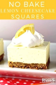 No Bake Lemon Cheesecake Squares by Renee's Kitchen Adventures NO BAKE easy dessert recipe that you NEED to make now! Lemon jello and cream cheese set up into a light and fluffy lemon dessert you is part of No bake lemon cheesecake - No Bake Cheesecake Filling, Lemon Cheesecake Recipes, Cheesecake Squares, Lemon Dessert Recipes, Lemon Recipes, Jello Cheesecake, Easy Lemon Desserts, Lemon Jello Cake, Light Dessert Recipes