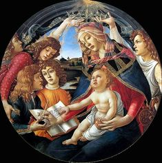 """""""Madonna of the Magnificat"""" -- 1481 -- Sandro Botticelli (Alessandro di Mariano di Vanni Filipepi) (1445-1510, Italian) -- Tempera -- Uffizi Gallery -- Florence, Italy"""