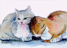Artist: Christy DeKoning Sweethearts - two affectionate cats cuddling ACEO fine art print Watercolor Cat, Watercolor Animals, Watercolor Paintings, Watercolors, Grey Cats, Here Kitty Kitty, Cat Drawing, Art Sketchbook, Animal Paintings
