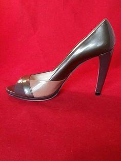 Prada Vernice Tricolored Open Toe Patent Leather High Stilettos  Heels Size 39.5 #PRADA #Stilettos