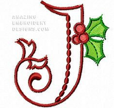 This free embroidery design from Amazing Embroidery Designs' Christmas Alphabet is the letter J.