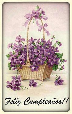 Feliz cumpleanos flores vintage espanol