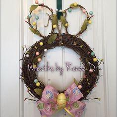 Bunny door hanger / bunny wreath / easter by ReneeDaviesCrafts