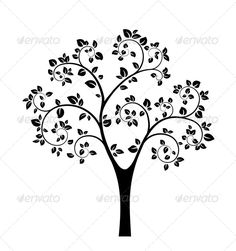 Black Vector Tree by neyro2008 Black Vector Tree isolated on white background. Editable EPS, Render in JPG format and layered PSD
