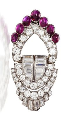 An art deco diamond and ruby brooch, Van Cleef