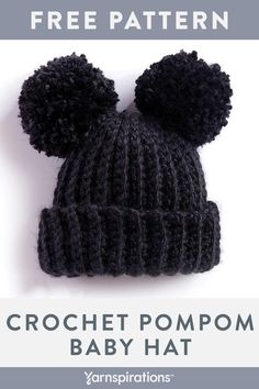 Crochet For Babies Free Crochet Pompom Baby Hat Pattern Crochet Baby Blanket Beginner, Crochet Baby Hat Patterns, Crochet Baby Beanie, Crochet Beanie Pattern, Baby Girl Crochet, Crochet Baby Clothes, Crochet For Kids, Baby Patterns, Free Crochet