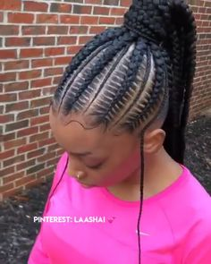 77 Unbeatable Long Box Braids to Explore - Hairstyles Trends Feed In Braids Ponytail, Hair Ponytail Styles, Cornrow Ponytail, Hair Styles, Goddess Braid Ponytail, Cornrow Mohawk, Cute Cornrows, Half Cornrows, Braids Cornrows