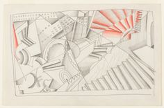 """""""Abstract Cityscape"""" by Winold Reiss in graphite and crayon on paper, from 1929-30."""